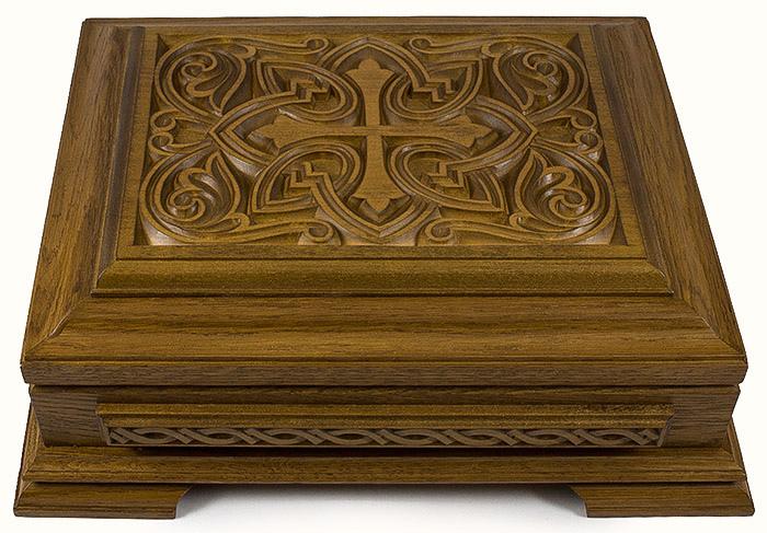 мощевик ковчег деревянный резной из дуба и сосны с