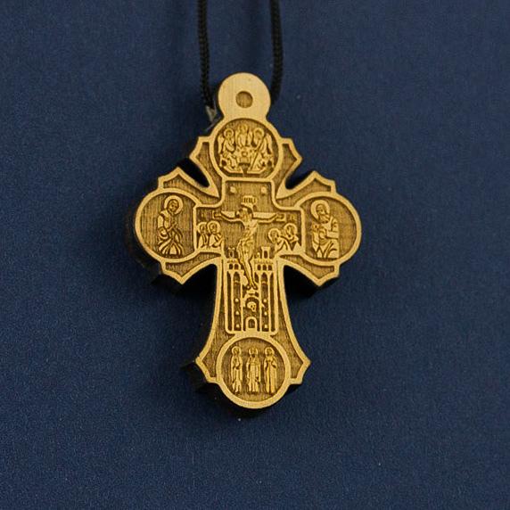 крест нательный деревянный из самшита 31 с распятием и
