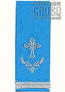 Закладка для Евангелия, голубая с серебром вышивка 'Крест', ткань габардин