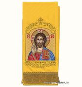Закладка для Евангелия 'Господь Вседержитель' вышивка, желтый габардин