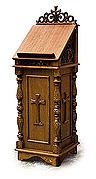 Аналой деревянный храмовый, закрытый, с тумбой, резной, из мдф, сосны, липы, шпона дуба, 111004.