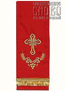 Закладка для Евангелия, красная с золотом, вышивка 'Крест', ткань габардин
