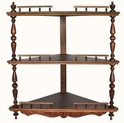 Полка для икон деревянная угловая, 3-ярусная, резная, сборная, 114004.