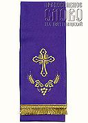 Закладка для Евангелия, фиолетовая с золотом, вышивка 'Крест', ткань габардин