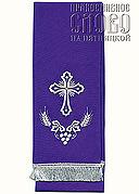 Закладка для Евангелия, фиолетовая с серебром, вышивка 'Крест', ткань габардин
