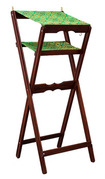 Аналой деревянный раскладной, двойной, с матерчатым верхом и матерчатой полочкой для книг и других предметов, с 2 латунными подсвечниками,111006