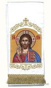 Закладка для Евангелия 'Господь Вседержитель' вышивка, белый габардин