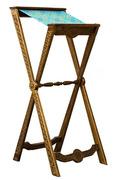 Аналой деревянный раскладной, с матерчатым верхом, с резной передней панелью и ножками, 111011.