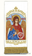 Закладка для Евангелия 'Архангел Михаил' вышивка, белый габардин