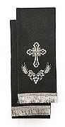 Закладка для Евангелия, черная с серебром, вышивка 'Крест', ткань габардин