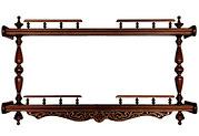 Полка для икон деревянная прямая, 2-ярусная, резная, сборная, 114001.