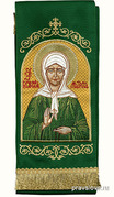 Закладка для Евангелия 'Блж. Матрона' вышивка, зеленый габардин