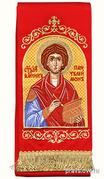 Закладка для Евангелия 'Вмч. Пантелеимон' вышивка, красный габардин