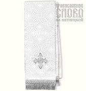 Закладка белая с серебром для Евангелия, шелк в ассортименте