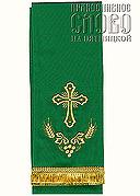 Закладка для Евангелия, зеленая с золотом вышивка 'Крест', ткань габардин